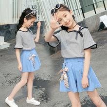 女童夏季休闲套装洋气夏装2019新款女孩大童短袖短裤宽松两件套潮