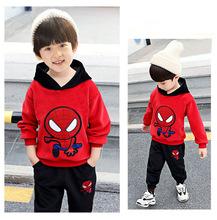 2019新款男童冬款套裝加絨男童蜘蛛俠套裝連帽兒童卡通表演服