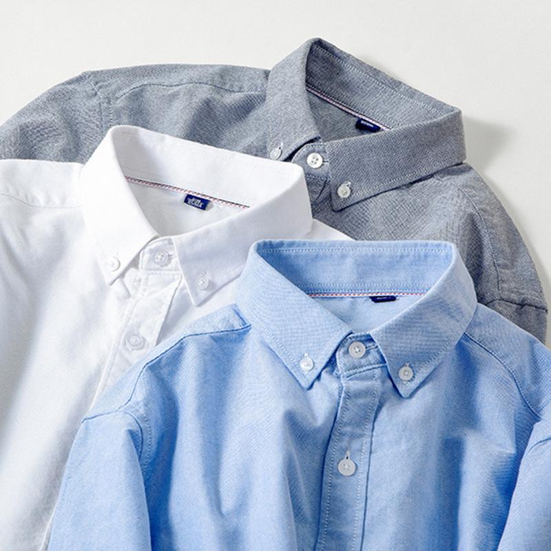 衬衫定制新款免烫内搭外穿时尚休闲百搭全棉牛津纺男士长袖白衬衣