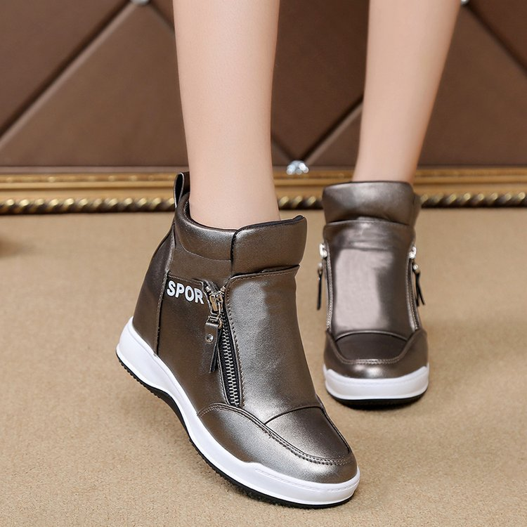 New high top shoes women's muffin heels with thick soles and interior heightening casual round head side zipper women's shoes cross border sports single shoes