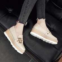 松糕鞋2019女春款欧洲站方扣铆钉漆皮厚底坡跟圆头单鞋懒人007-8