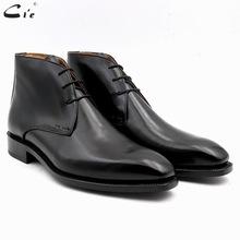 cie其艾头层小牛纯黑牛皮底纯手工商务正装男士皮靴可定制其他色