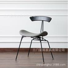 北欧简约现代美式创意loft设计师复古工业风铁布艺真皮餐单人椅子