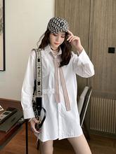 设计感中长款帅气领带长袖小众衬衫女神范夏季新款休闲白色衬衣秋