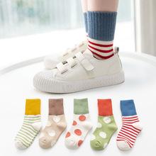 優質小孩襪子秋冬 2019新款大波點橫條學生襪子 批發嬰兒中筒襪