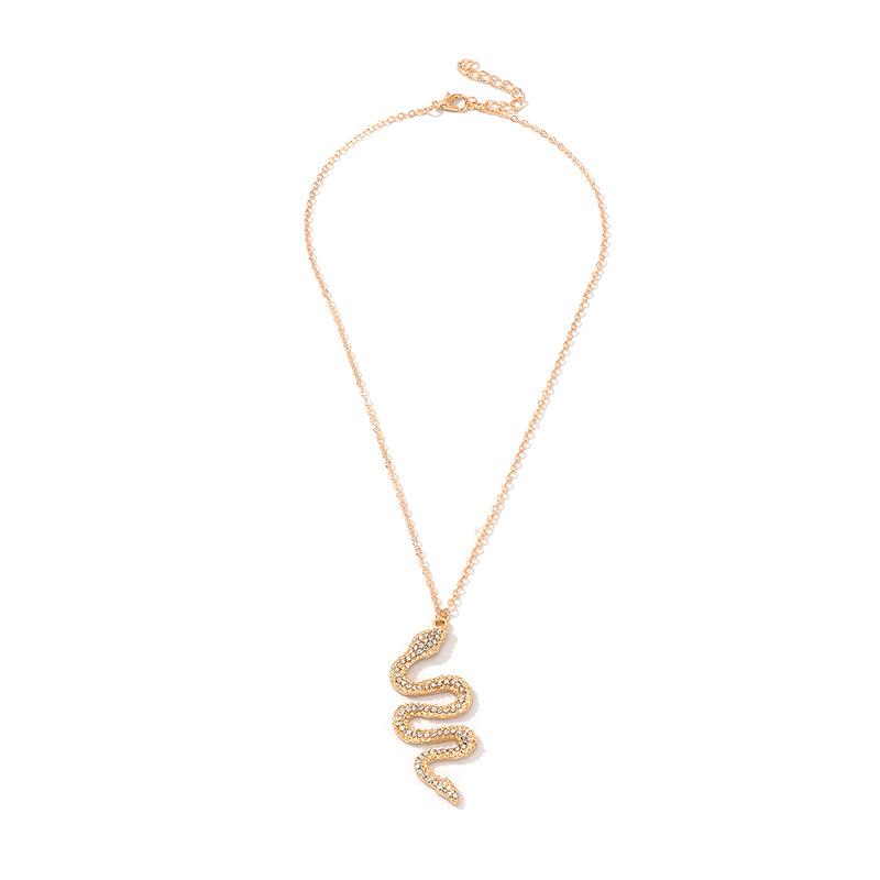 Accessoires Mode Serpent Pendentif Collier En Mtal Diamant Pliage Serpent Bijoux en gros nihaojewelry NHNZ218112