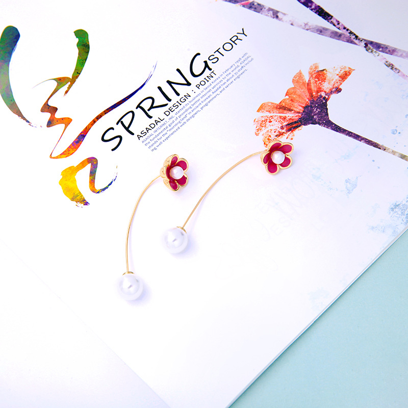 Simple and small fresh oil flower beads earrings NHQD129509