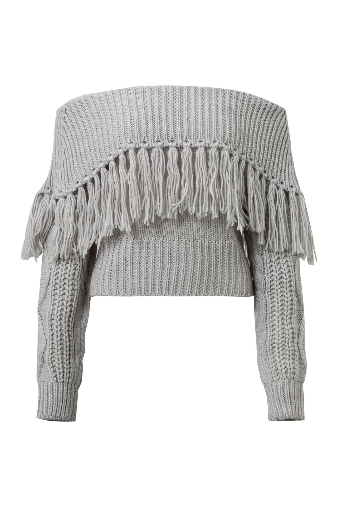 one-shoulder tassel strapless sexy sweater NSYD3673