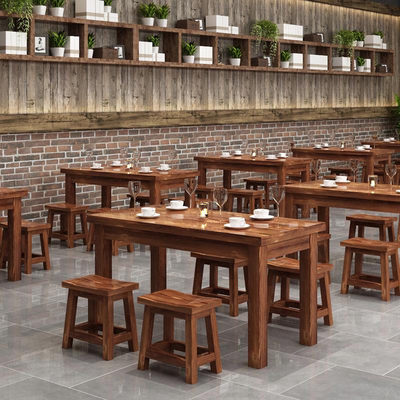 厂家直销长方形碳化实木餐桌火烧家具新中式快餐店面店餐桌马鞍凳