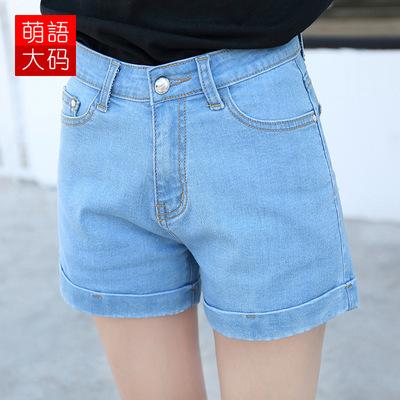 跨境欧美大码女装短裤2019新款夏季高腰弹力卷边牛仔裤女一件代发