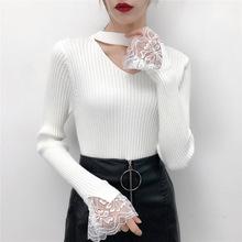 實拍半高領加厚毛衣女2019秋冬新款蕾絲袖女裝修身套頭針織衫女