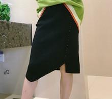 半身裙女2019新款高腰钉珠针织裙秋冬甜美?#36824;?#21017;毛线裙修身现货