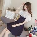 夏季新款韩版木耳边气质收腰连衣裙中长款短袖网纱拼接雪纺裙子