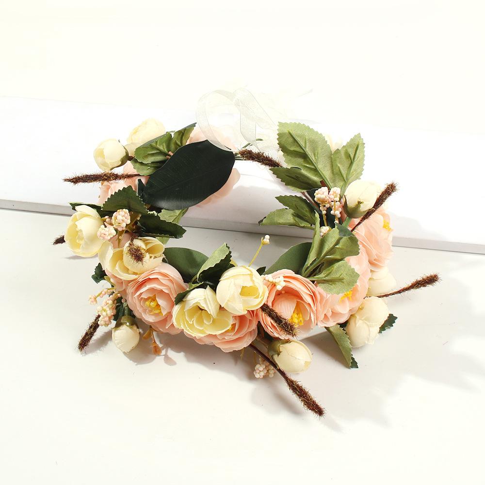 New silk yarn artificial flower crown hair accessories vacation style wedding bridal headband NHMD186049