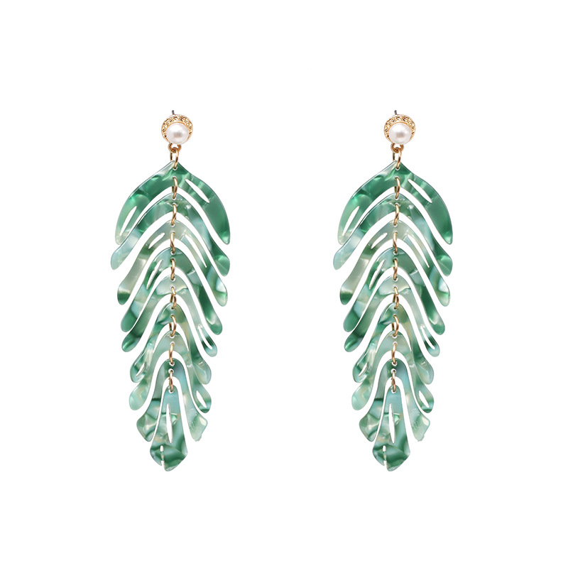 Womens Leaf Retro light luxury Plastic  Resin  Earrings JJ190505120200