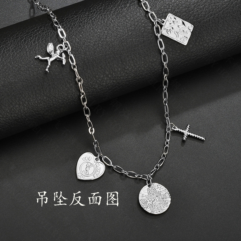 Long double love round bead cross necklace titanium steel couple hip hop angel sweater chain NHHF173840