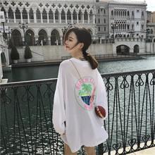 韓國東大門女裝19夏季新款寬松顯瘦印花椰樹長袖防曬衣百搭T恤潮
