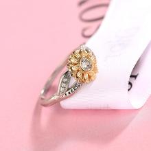 饰品戒指玫瑰金桃花食指女仿真钻石潮人单身个性时尚复古跨境专供