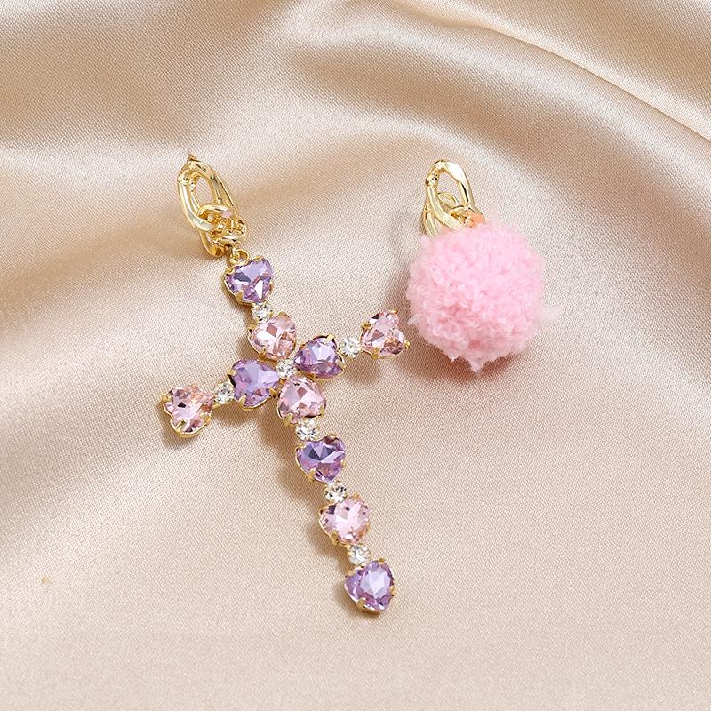 New earrings wholesale cross crystal earrings handmade plush asymmetric earrings wholesale NHKQ185450