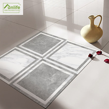 Funlife 北欧时尚家居 灰白大理石装饰客厅浴室地垫防水贴纸DB124