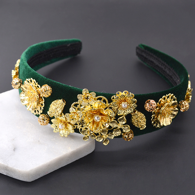 Vintage Wide Edge Gold Hair Band Hair Accessories Hair Clips Fashion Headwear Wholesale NHNT199798
