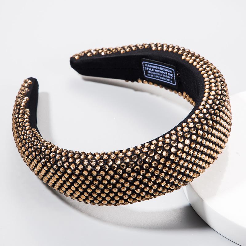 Diadema negra Taladro de resina con incrustaciones de moda diadema llena de diamantes esponja suave femenina diadema ancha de tela negra NHLN179231