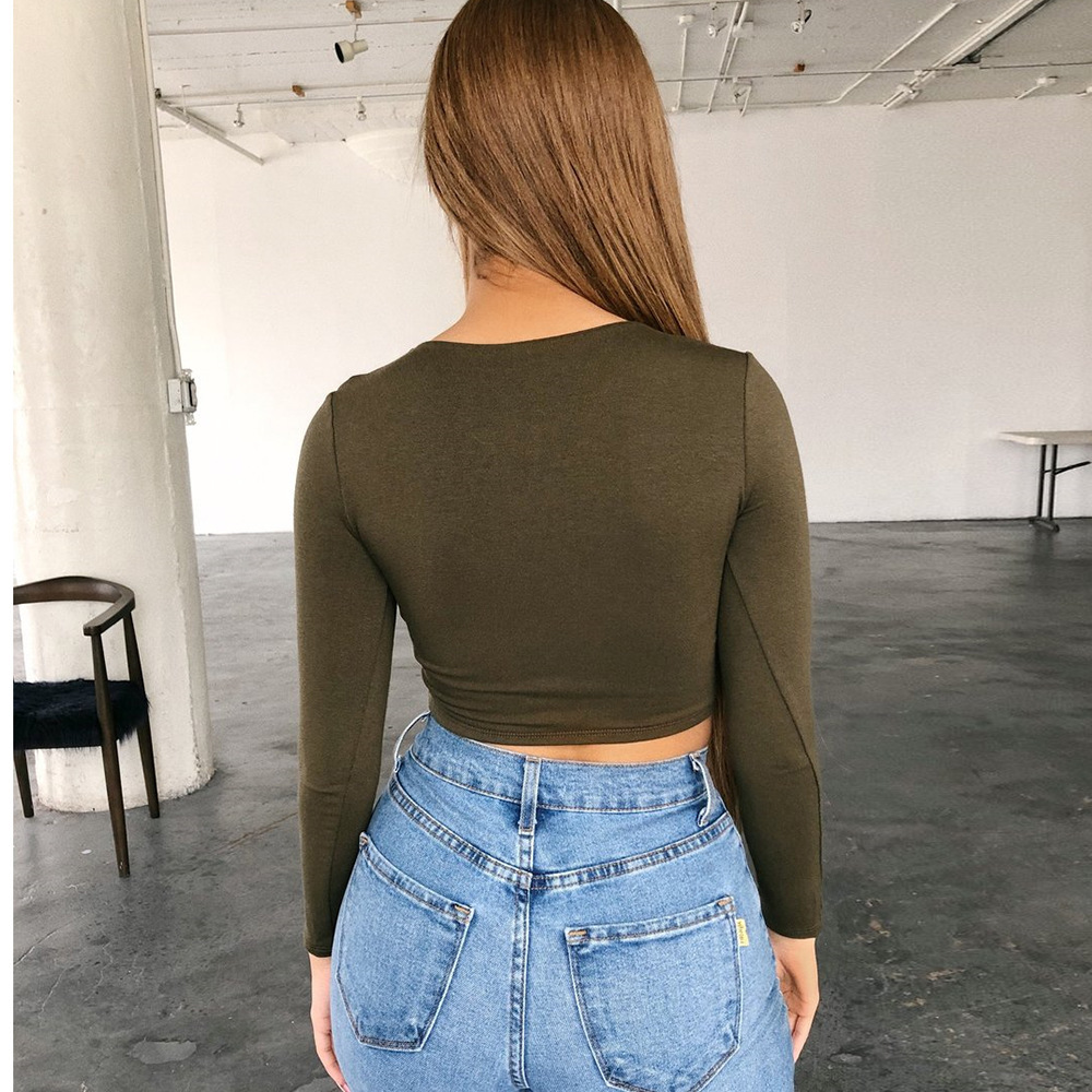 Fashion womens solid color pure cotton bottoming shirt sexy ultra short lowcut navel tightfitting longsleeved wholesale NHAG241212