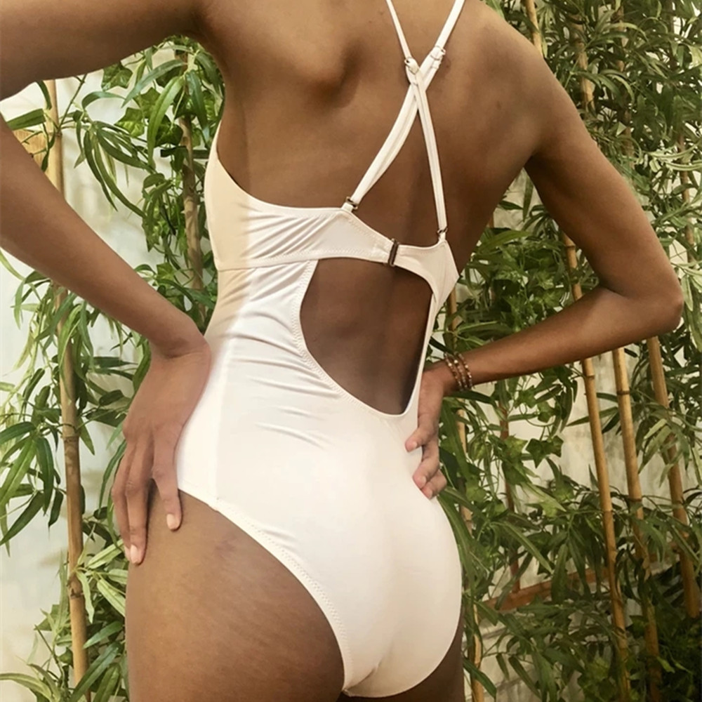 New sexy personality swimwear conservative solid color one-piece swimsuit NHHL198821