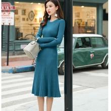 实拍秋冬长袖针织连衣裙2019新款韩版显瘦中长款打底毛衣裙