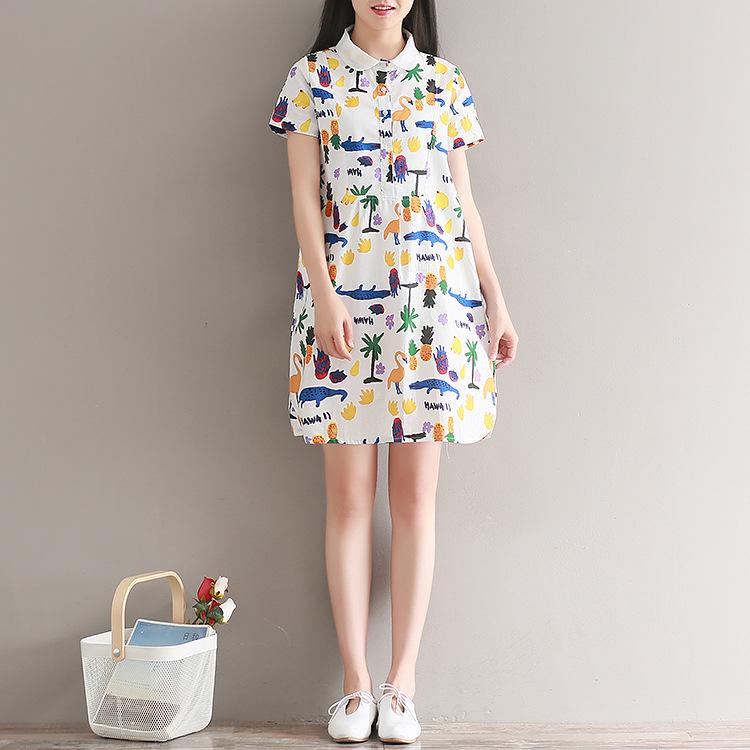 日系森女裙 2019夏季新款印花拼接娃娃领连衣裙女中长款棉麻短袖