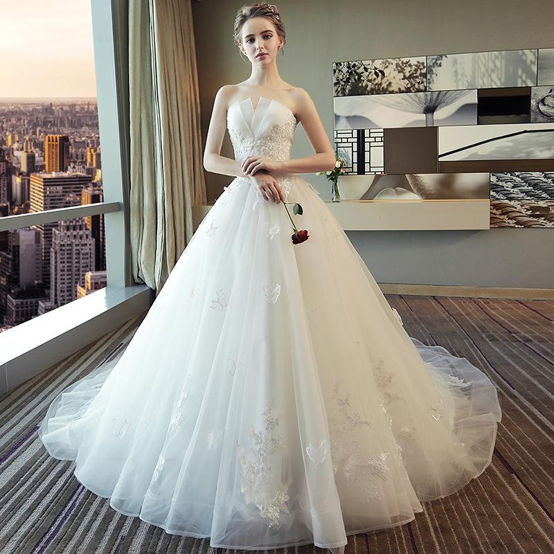婚纱礼服新娘拖尾小个子2020新款白色抹胸蕾丝简约仙奢华森系婚纱