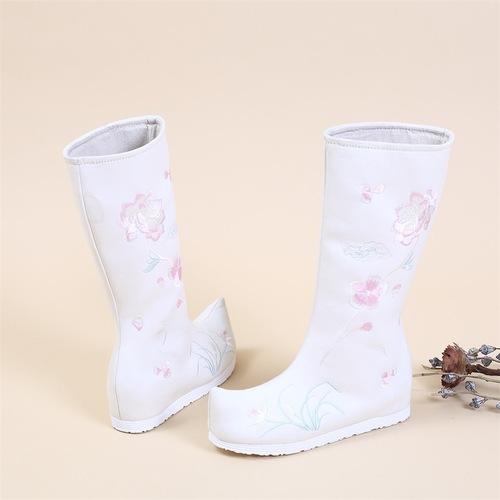Ancient chinese Hanfu clothing shoes for female Ming hanfu boots embroidered shoe tube ancient hanfu kimono dress clothing boots