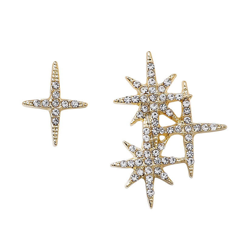Personalized flash diamond star earrings wild female simple asymmetric earrings for women NHMS184485
