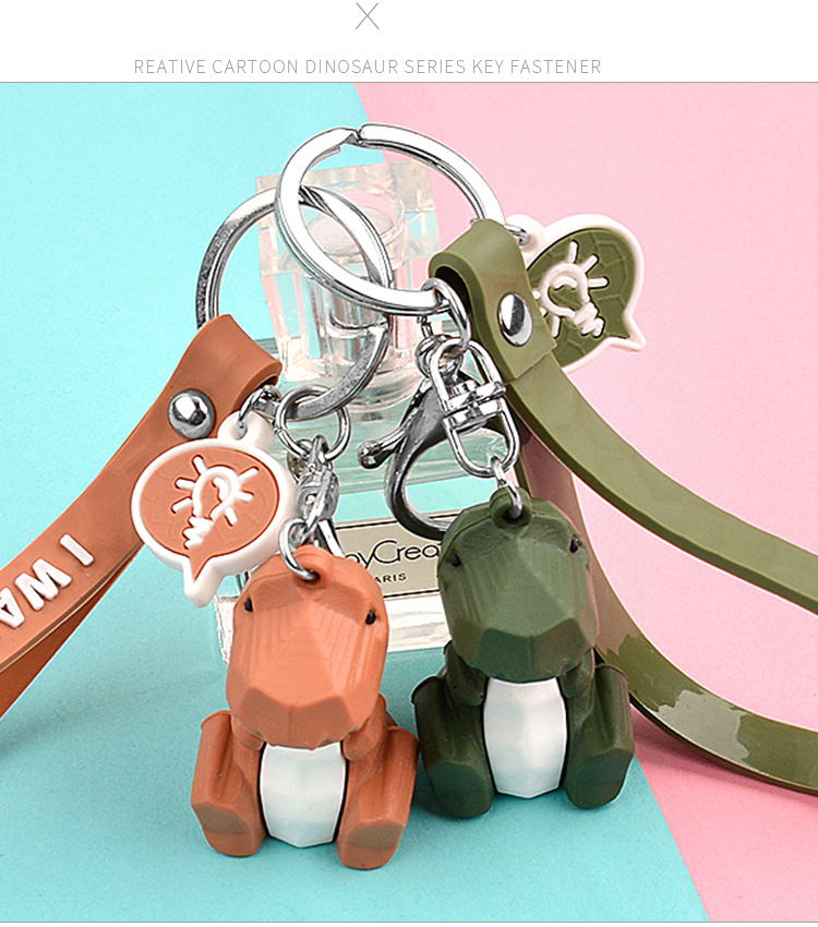Geometric faceted silicone dinosaur keychain NHCB157713