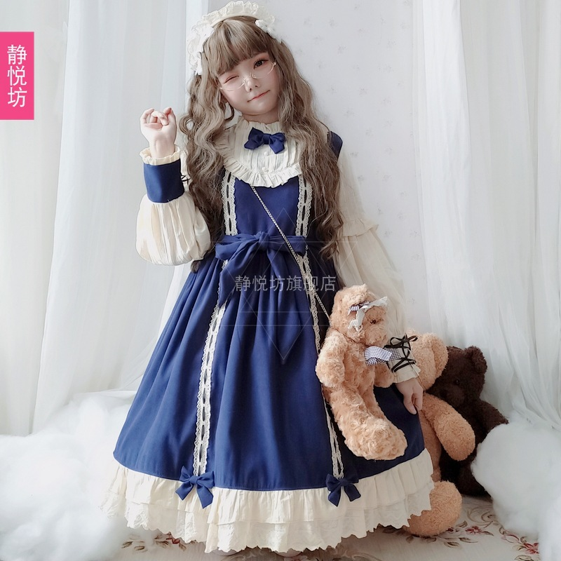 原创日系萝莉op长袖连衣裙红色甜美软妹公主裙lolita洋装宫廷复古