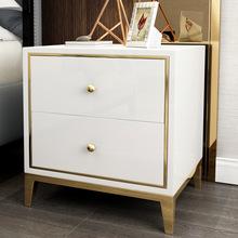 轻奢床头柜不锈钢简约网红家用柜角几烤漆样板房卧室床后现代边柜