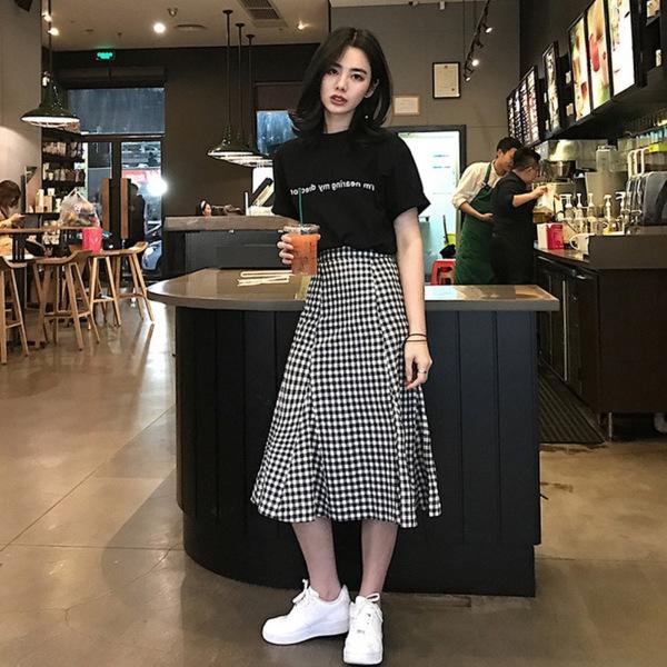 2019夏季新款时尚女装格子半身裙套装女韩版网红两件套裙子潮货源