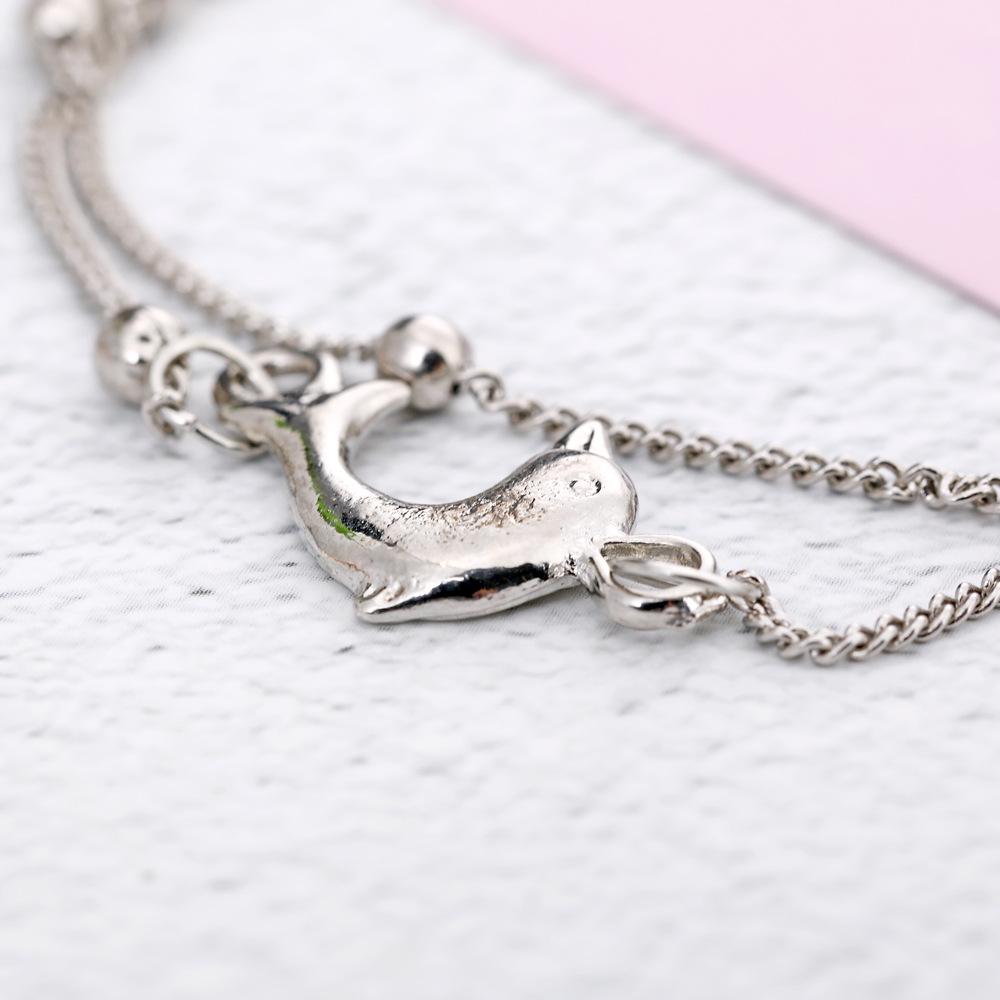 new style bohemian dolphin silver bead fashion doublelayer beach alloy anklet wholesale NHXI243651