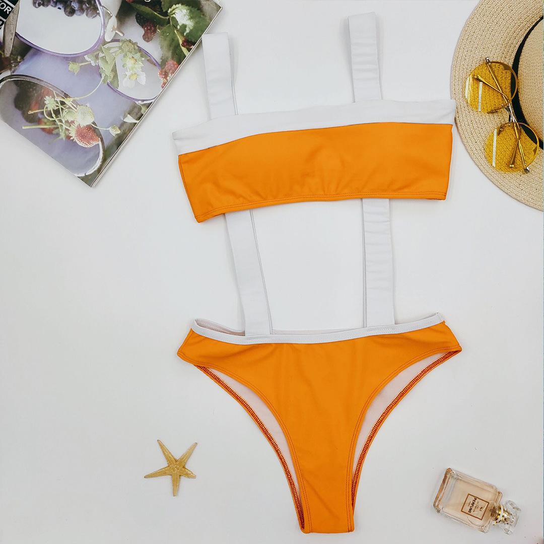 strap orange and white stitching swimsuit ladies split bikini NSZO1708