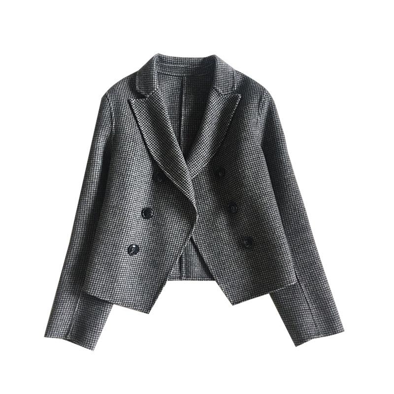 秋冬新款双面呢羊毛大衣女短款修身翻领双排扣毛呢外套女厂家直销