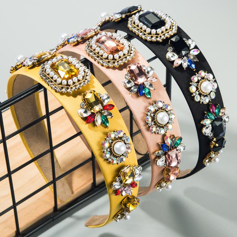 Fashion headband colorful fabric baroque bead headband with glass diamond headdress NHLN189803