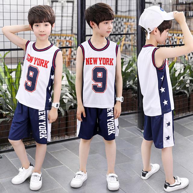 Quần áo trẻ em lớn cho bé trai mùa hè ngắn tay nhanh khô quần áo bóng rổ quần áo thể thao quần áo trẻ em không tay áo vest Bộ đồ trẻ em
