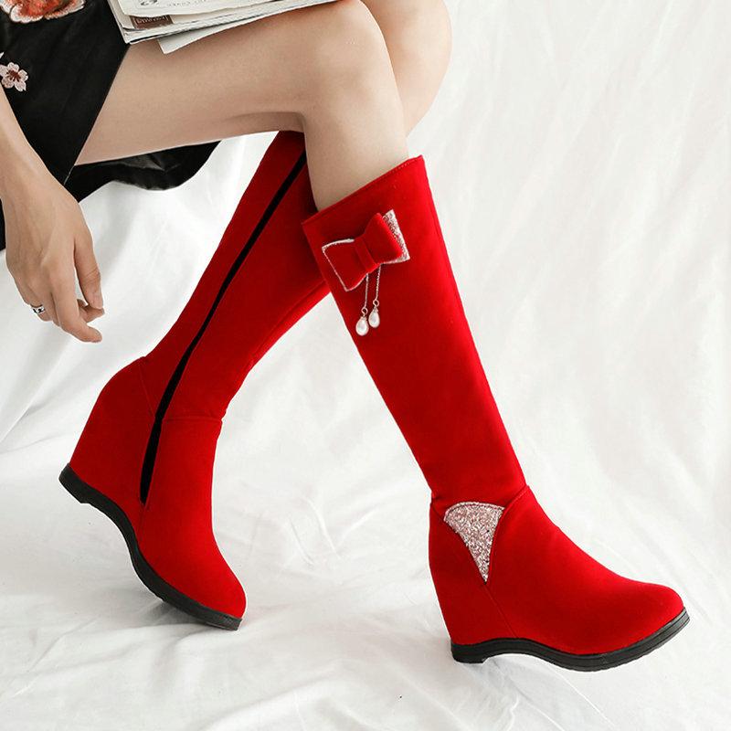 外貿靴子女秋冬絨面長靴坡跟高跟防水臺高筒靴高跟長筒不過膝女靴
