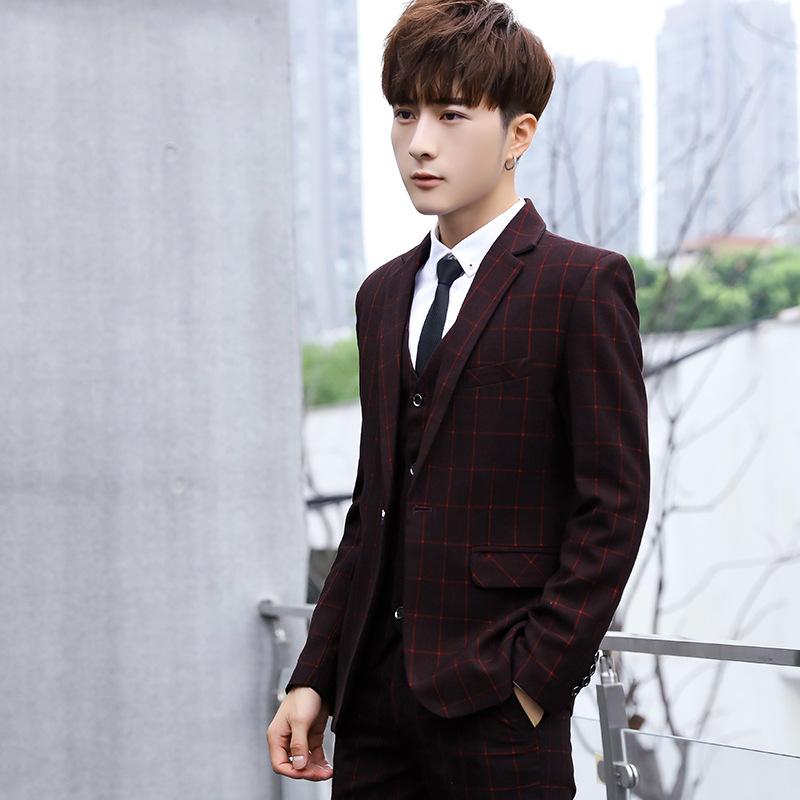 男士休闲小西装三件套装格子西服韩版修身青年新郎礼服职业商务装