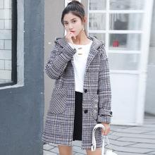 实拍学院风秋冬少女羊毛呢外套初中学生呢子大衣加厚加棉格子中长