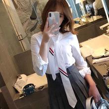 2019春夏新款TB白襯衫女長袖寬松領帶外穿襯衣打底衫牛津紡上衣潮