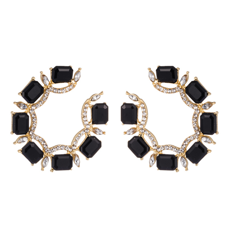 Alloy Earrings Female Temperament C-shaped Stud Earrings with Color Rhinestones NHLN191690