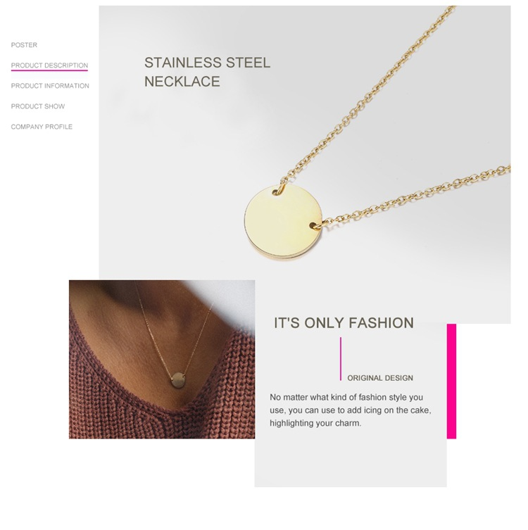 Stainless steel round necklace geometric pendant clavicle chain NHTF175299