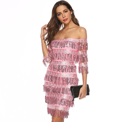 women's party dress with fringes hips and sexy sequins