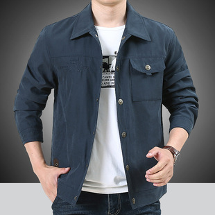 Autumn new jacket men's casual loose large size jacket thin section young and middle-aged all-match blouse 5018B